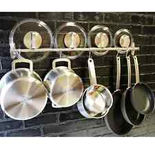Wall Mount Pot Rack Hook Stainless Steel Kitchen Hang Utensils Pan Lid Organizer