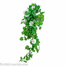 Artificial silk white Geranium bush 80cm hanging basket window box flowers
