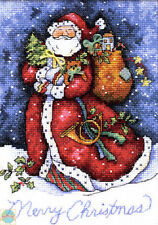 Cross Stitch Kit ~ Gold Collection Merry Christmas Santa Claus in Snow #8825
