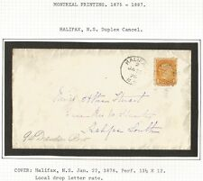 Canada small Queen Montreal print 1c on 1878 Halifax local drop rate cover