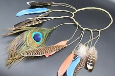 Tribal Peacock Feather Headband Native American indian Hair Rope Gypsy Headpiece