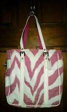 COACH 2555 ZEBRA ANIMAL PRINT LIMITED EDITION PINK SIGNATURE TOTE PURSE BAG