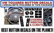 3 - Piece 2004-2009 VW Touareg Button Decal Sticker Set Window Climate Steering