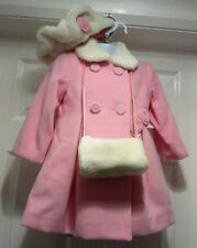 NEW AW2016 Jingles Girls Pink/White Roses Winter Coat,hat & hand warmer 24 MONTH