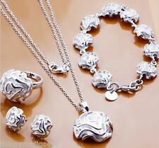 STERLING SILVER ROSE DROP JEWELLERY SET RING NECKLACE EARRINGS BRACELET JEWELERY
