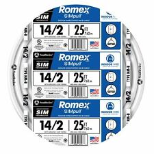 25' Roll 14-2 AWG NM-B Gauge Indoor Electrical Copper Wire White Romex (15 Amp