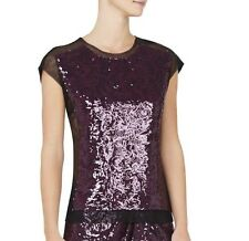 NEW BCBG BLACK / DEEP PORT OBREE FLORAL GARDEN SEQUIN-BLOCKED TOP $178 Size Med.