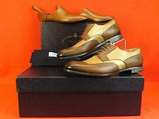 NIB PRADA BROWN NUDE PEWTER GLAZED TOOLED LEATHER LACE UP OXFORDS 9 10 $1100
