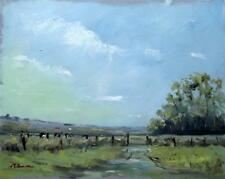 March Gate at Stodmarsh Kent  Original Impressionist Oil Painting by MIKE SAMSON