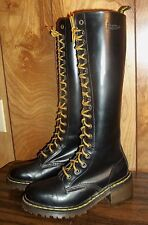 DR MARTENS TALL BLACK LEATHER BOOTS Size UK 4 US 6 Made in England