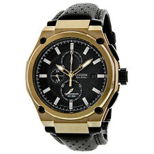 Citizen Sport Eco-Drive Chronograph Black Dial Rose Gold Mens Watch CA0313-07E