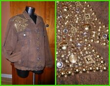 Vtg GOLD Studded Rhinestons ART to WEAR Brown Cotton Washed Denim COAT Jacket L