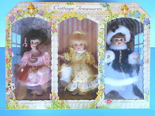 COLLECTIBLE ~ THE BRASS KEY COTTAGE TREASURES PORCELAIN DOLLS SET OF 3 1997