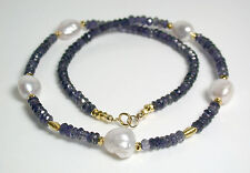 10-12mm AA++ quality South Sea pearl, iolite and gold vermeil necklace