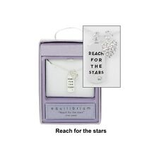 Reach for the stars Message tag necklace Silver plated Equiblibrium Gift box New