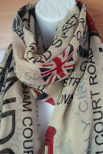 London Scarf Union Jack Print Souvenir Holiday Britain UK Flag Icon Unionjacks