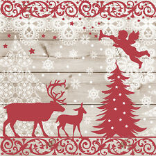 40 pcs Christmas FOREST ANIMALS Paper Cocktail Napkins Scandinavian Style