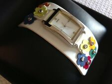NIB, Women's GUESS watch,white leather strap w/multi color florals rhinestones