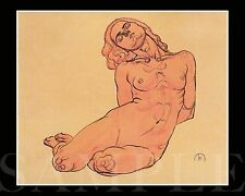 Vintage Nude Women Picture 8X10 New Color Print Antique Old Drawing Sketch Girl