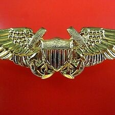 GENUINE U.S. NAVY FLIGHT OFFICER AVIATOR PILOT TOP GUN WINGS BADGE ON CARD