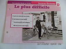CARTE FICHE PLAISIR DE CHANTER JACQUES DUTRONC LE PLUS DIFFICILE
