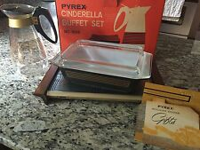 RARE Vintage Pyrex New In Box Black Gold Musical Staff 1950s Cinderella Set Lid
