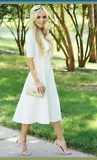 White Midi Knee Length 3/4 Sleeved Lulu Dress Sizes XS