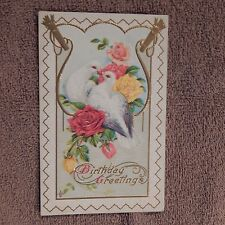 Vintage Postcard Birthday Greetings, 2 Doves In A Bed Of Yellow And Pink Roses