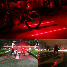 2 Laser+5 LED Flashing Lamp Light Warning Rear Cycling Bicycle Bike Tail RED