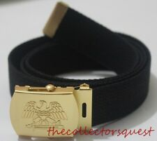 "NEW GOLD EAGLE ADJUSTABLE 54"" INCH BLACK CANVAS MILITARY GOLF WEB BELT BUCKLE"