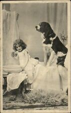 Little Girl Washing w/ Her Dog MY FACE CLEAN PRINCE? C1910 Postcard