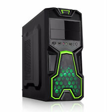 Dynamode lockstock gc356 Tower ATX Gaming PC Case con ANTERIORE usb3.0 Ventilatore & Green