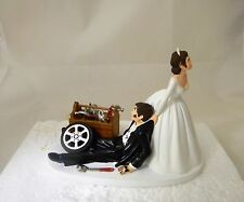 Wedding Reception Race Car Truck Mechanic Tools Grease Cake Topper Dark Hair