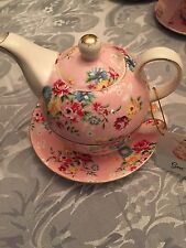 Grace's Teaware Tea for One Set Pink With Flowers ,Gold Trim New