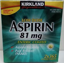 Kirkland Low Dose Aspirin 81 mg, Two 365 Count Bottles (2 x 365 ct)