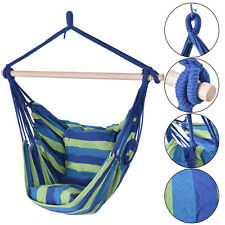 Blue &Green Deluxe Hammock Rope Chair  Porch Yard Tree Hanging Air Swing Outdoor