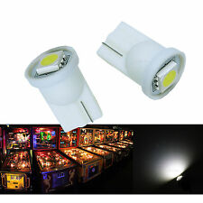 10x #555 T10 1 SMD 5050 LED Pinball Machine Light Bulb White AC/ DC 6.3V