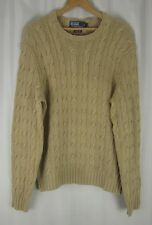 Polo Ralph Lauren Men's 100% Silk Hand Knit Cable Sweater Beige LS Small S