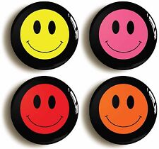 4 x SMILEY FACE EIGHTIES BADGES BUTTONS PINS (Size is 1inch/25mm diameter)