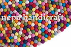 90cm Round Rug 100% Wool Multi-Color Felt Ball Freckle Nursery Pom Pom Mat Nepal