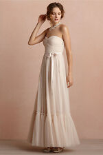 VA ET VIEN $350 Nude Pink Tulle Overlay Bustier Long Evening Formal Dress 4 S