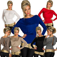 Long sleeves Shirt Top with Slit One Size Fits All S 34 36 Party Club