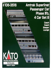 Kato 106-3516 N Scale Superliner Amtrak PhIVb Set B (v2) 4 Car SET