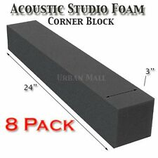 "8 Pack Acoustic Studio Soundproofing Foam Corner Block 3""x 3""x 24"""