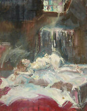 Liegender weiblicher Akt, unsigniertes  Ölbild auf Tapete