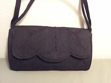 Vintage Black Double Strap Scalloped Edge Corde Handbag Purse