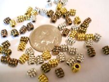 100 SILVER, GOLD, BRONZE,COPPER PLATED 4mm ROUND TUBE SPACER BEADS BAR BRACELET