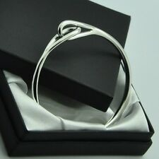 ~ New in Box ~ Solid 925 Sterling Silver Double Eye Loop Bangle Bracelet
