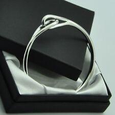 ~ New in Box ~ Solid 925 Sterling Silver Double Eye Loop Bangle Bracelet