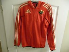 MUNSTER RUGBY ADIDAS FORMOTION JERSEY HOODIE TOP ADULT SIZE S RED POLYESTER